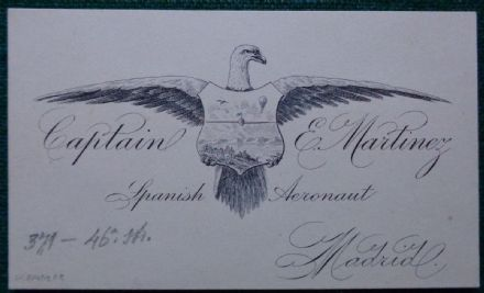 Captain Esteban Martinez Spanish Aeronaut Balloonist Antique Calling Card Spain